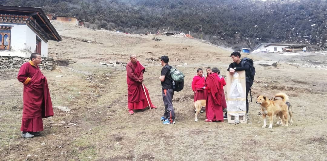 Project team briefing project to the Lama (Phajoding Monastery) right upon the visit for installation